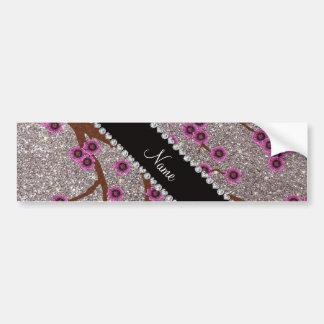 Custom name silver glitter cherry blossoms bumper stickers