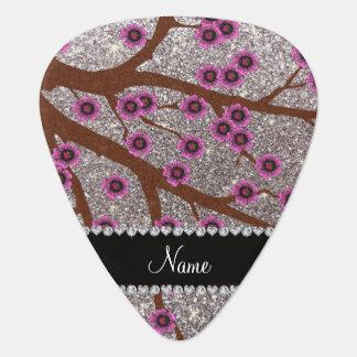 Custom name silver glitter cherry blossoms guitar pick