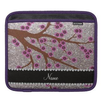 Custom name silver glitter cherry blossoms iPad sleeves