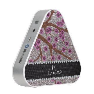 Custom name silver glitter cherry blossoms bluetooth speaker