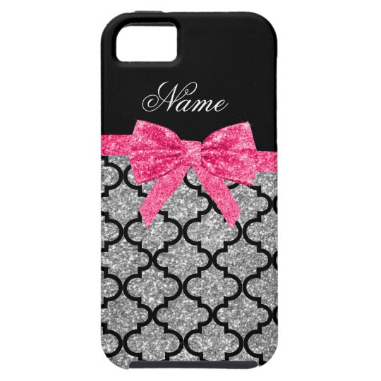 Custom name silver glitter moroccan pink bow iPhone 5 cover