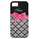 Custom name silver glitter moroccan pink bow tough iPhone 5 case