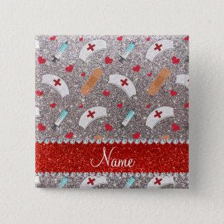 Custom name silver glitter nurse hats heart 15 cm square badge
