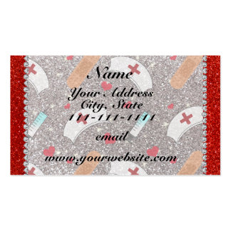 Custom name silver glitter nurse hats heart pack of standard business cards