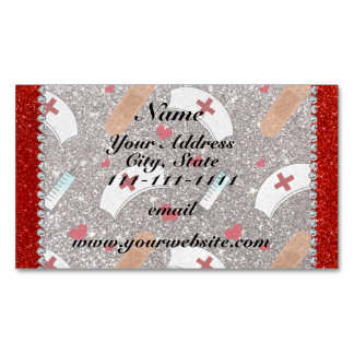 Custom name silver glitter nurse hats heart magnetic business cards