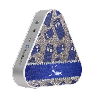 Custom name silver glitter police box bluetooth speaker