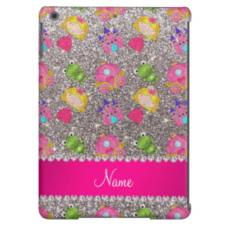 Custom name silver glitter princess frogs iPad air cover