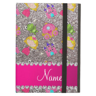 Custom name silver glitter princess frogs case for iPad air