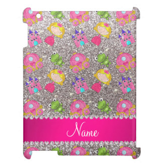 Custom name silver glitter princess frogs iPad covers