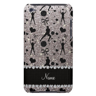 Custom name silver glitter volleyballs hearts bows barely there iPod case