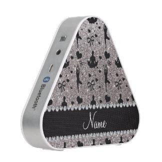 Custom name silver glitter yoga hearts bows bluetooth speaker