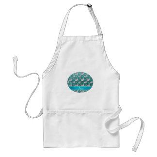 Custom name silver hearts keys turquoise glitter standard apron
