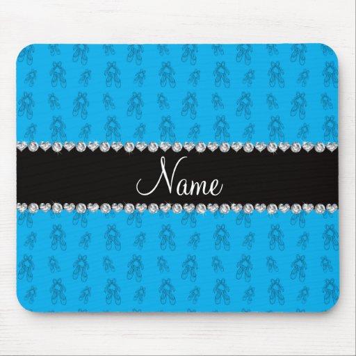 Custom name sky blue ballet shoes mousepad