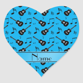 Custom name sky blue black guitars music notes heart stickers