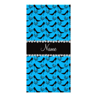Custom name sky blue black high heels bow diamond picture card