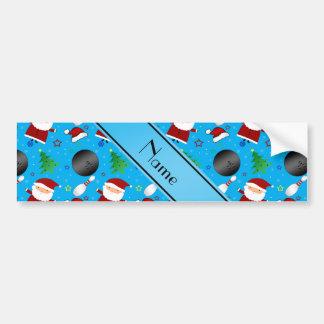 Custom name sky blue bowling christmas pattern bumper sticker