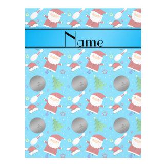 Custom name sky blue bowling christmas pattern custom flyer