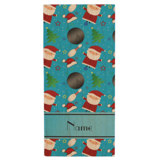 Custom name sky blue bowling christmas pattern wood USB 2.0 flash drive
