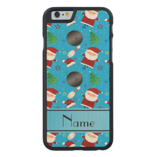 Custom name sky blue bowling christmas pattern carved® maple iPhone 6 case