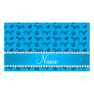 Custom name sky blue dachshunds hearts paws business card template