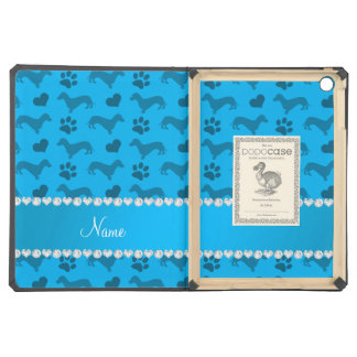 Custom name sky blue dachshunds hearts paws iPad air covers