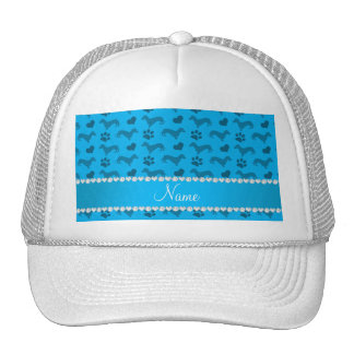 Custom name sky blue dachshunds hearts paws hat