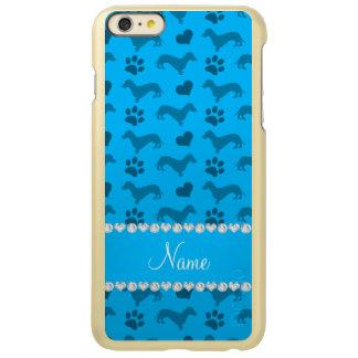 Custom name sky blue dachshunds hearts paws incipio feather® shine iPhone 6 plus case
