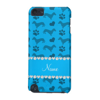 Custom name sky blue dachshunds hearts paws iPod touch (5th generation) case