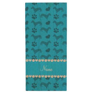 Custom name sky blue dachshunds hearts paws wood USB 2.0 flash drive