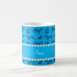 Custom name sky blue dachshunds hearts paws mug