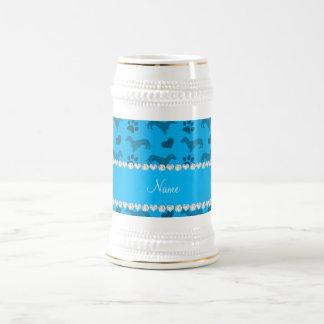 Custom name sky blue dachshunds hearts paws mugs
