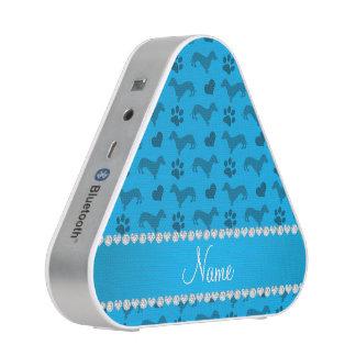 Custom name sky blue dachshunds hearts paws speaker