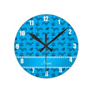 Custom name sky blue dachshunds hearts paws round clock