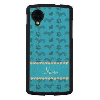 Custom name sky blue dachshunds hearts paws carved® maple nexus 5 slim case