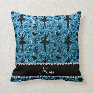 Custom name sky blue glitter ballerinas cushion
