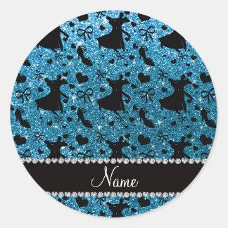 Custom name sky blue glitter ballroom dancing round sticker