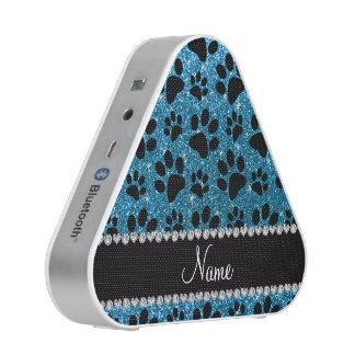 Custom name sky blue glitter black dog paws speaker