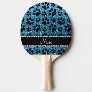 Custom name sky blue glitter black dog paws ping pong paddle