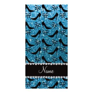 Custom name sky blue glitter black high heels bow photo card template