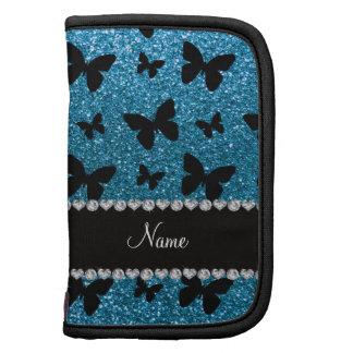 Custom name sky blue glitter butterflies planner