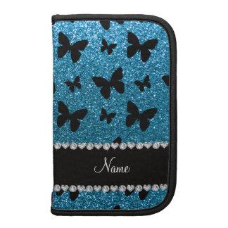 Custom name sky blue glitter butterflies organizers