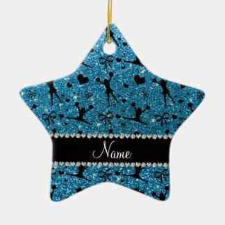 Custom name sky blue glitter cheerleading christmas ornament