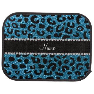 Custom name sky blue glitter cheetah print car mat