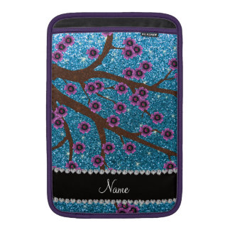 Custom name sky blue glitter cherry blossoms MacBook air sleeve