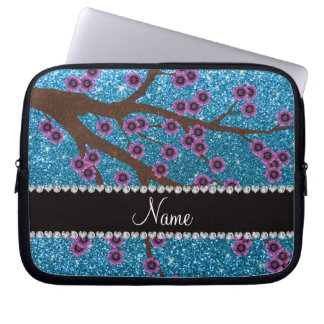 Custom name sky blue glitter cherry blossoms computer sleeves