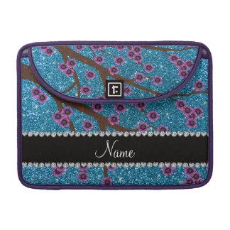 Custom name sky blue glitter cherry blossoms sleeves for MacBook pro