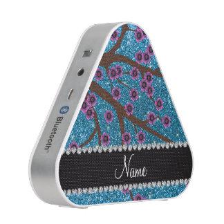 Custom name sky blue glitter cherry blossoms bluetooth speaker