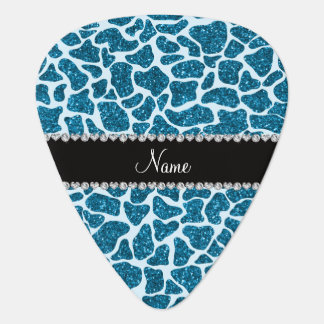 Custom name sky blue glitter giraffe pick