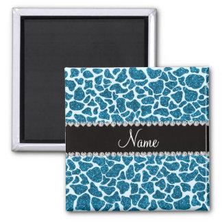 Custom name sky blue glitter giraffe square magnet