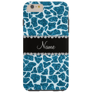 Custom name sky blue glitter giraffe tough iPhone 6 plus case